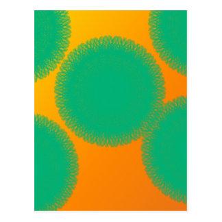 círculo verde en naranja amarillento tarjetas postales