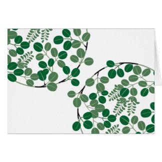 Círculo verde japonés de la hoja tarjeta de felicitación