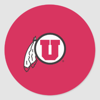 Círculo y plumas de Utah U Pegatina Redonda