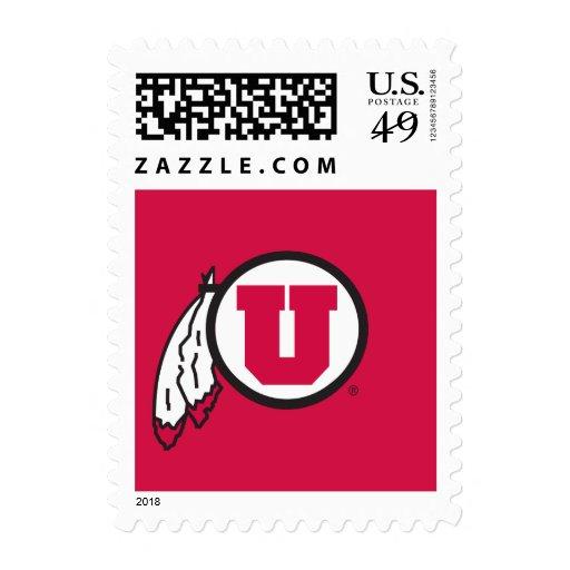 Círculo y plumas de Utah U Sello Postal
