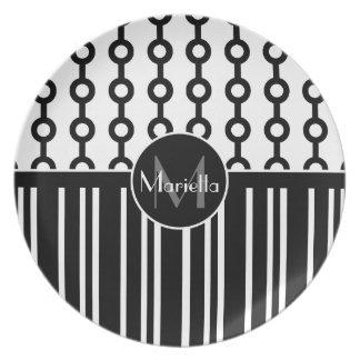 Círculo y rayas blancos y negros personalizados plato para fiesta