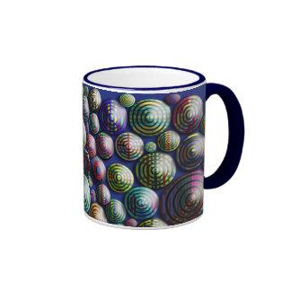 Círculos 3D colorido en fondo azul Taza De Dos Colores