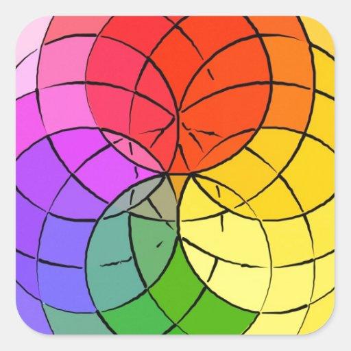 círculos 6 colcomanias cuadradas