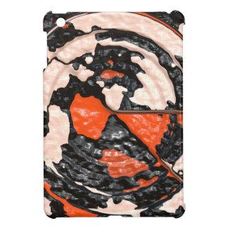 Círculos abstractos anaranjados y negros