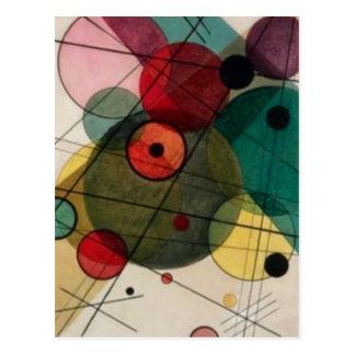 Círculos abstractos de Kandinsky en una postal del