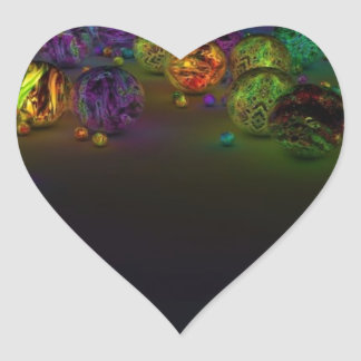 Círculos abstractos del multicolor pegatina en forma de corazón
