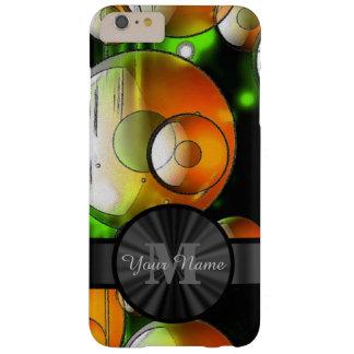 Círculos abstractos y monograma personalizado funda barely there iPhone 6 plus