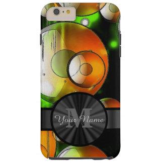 Círculos abstractos y monograma personalizado funda resistente iPhone 6 plus
