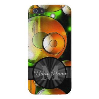 Círculos abstractos y monograma personalizado iPhone 5 carcasas