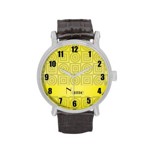 Círculos amarillos conocidos personalizados de los reloj de mano