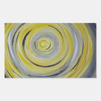 círculos amarillos del blanco gris pegatina rectangular