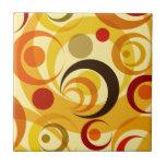 Círculos amarillos y anaranjados retros azulejo cerámica