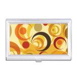 Círculos amarillos y anaranjados retros caja de tarjetas de presentación