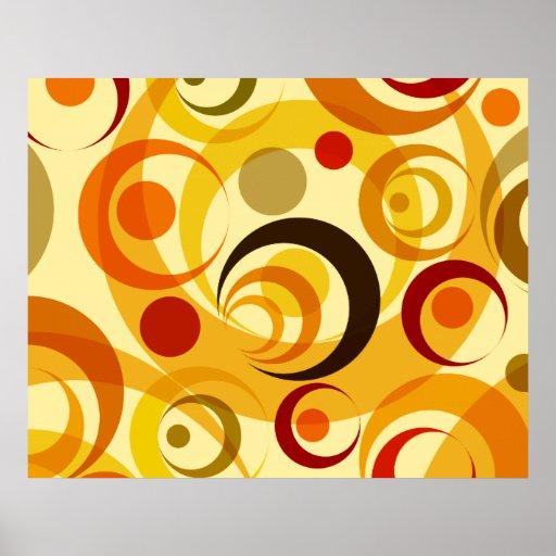 Círculos amarillos y anaranjados retros posters