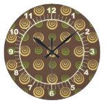 Círculos amarillos y verdes en el reloj de pared d