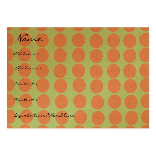 Círculos anaranjados con el efecto de lino tarjetas de visita grandes
