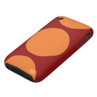 Círculos anaranjados en rojo tough iPhone 3 carcasas