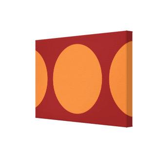 Círculos anaranjados en rojo impresión en lienzo