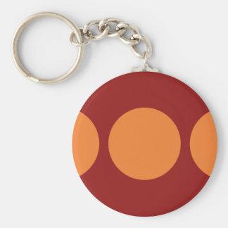 Círculos anaranjados en rojo llavero redondo tipo pin