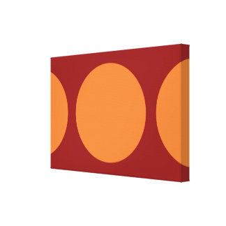 Círculos anaranjados en rojo lona envuelta para galerias