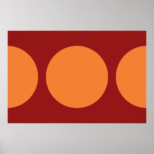 Círculos anaranjados en rojo póster