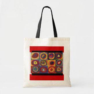 Círculos Arte-Kandinsky-Concéntricos y Sq Bolso-Cl Bolsa Tela Barata