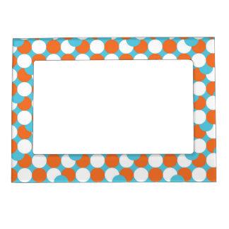 Círculos artsy del trullo y del naranja marcos magnéticos de fotos