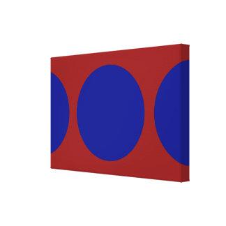 Círculos azules en rojo impresión en lienzo