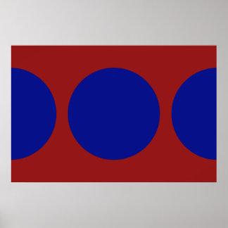Círculos azules en rojo póster