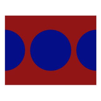 Círculos azules en rojo tarjetas postales