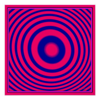 Círculos azules rojos concéntricos póster