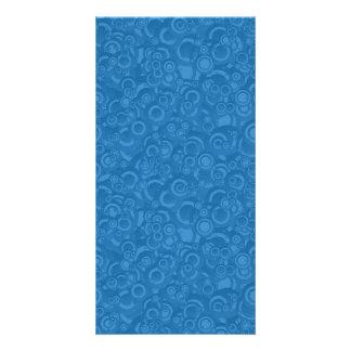 Círculos azules tarjetas con fotos personalizadas