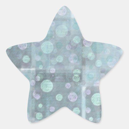 Círculos azules y modelo del bloque cuadrado calcomania forma de estrella personalizada