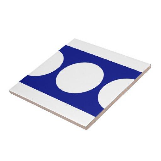 Círculos blancos en azul azulejo cuadrado pequeño
