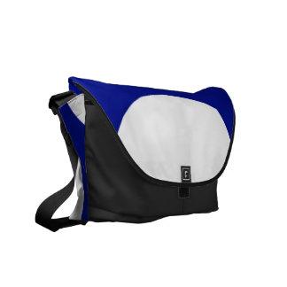 Círculos blancos en azul bolsa messenger