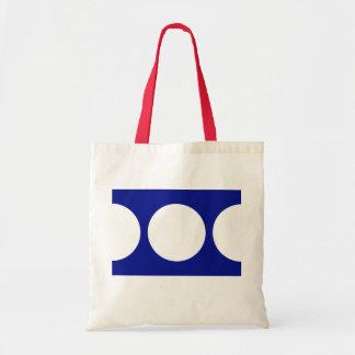Círculos blancos en azul bolsa tela barata