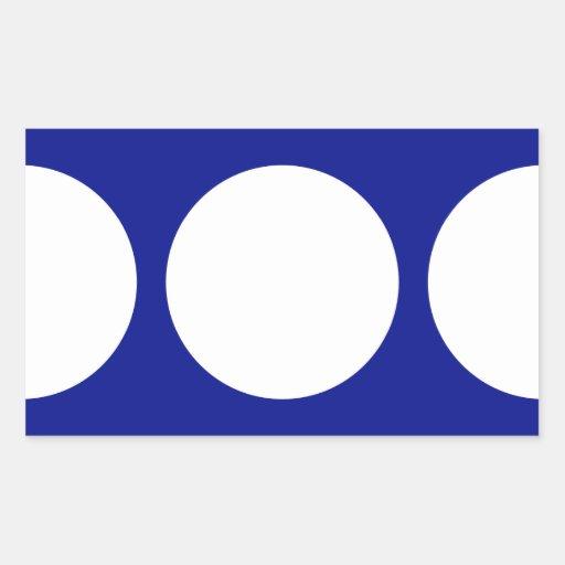 Círculos blancos en azul pegatina rectangular