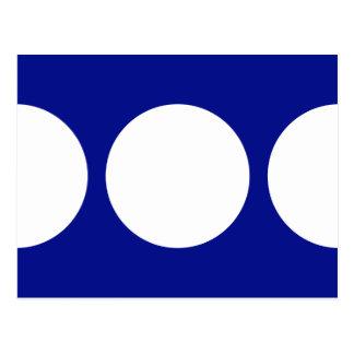 Círculos blancos en azul tarjeta postal