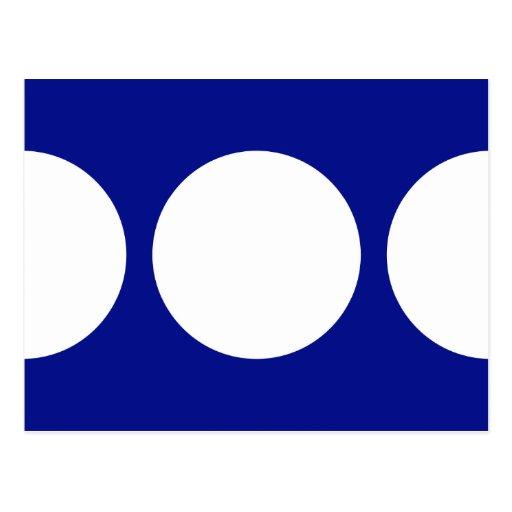Círculos blancos en azul tarjetas postales