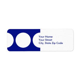 Círculos blancos en etiqueta azul del remite etiqueta de remite