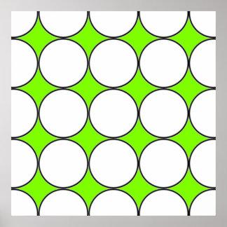 círculos blancos en fondo fluorescente verde póster