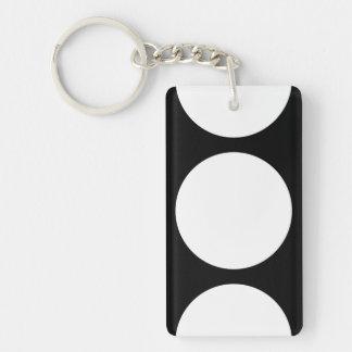 Círculos blancos en negro llavero rectangular acrílico a doble cara