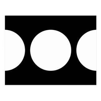 Círculos blancos en negro tarjeta postal