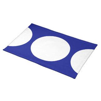 Círculos blancos en Placemat azul Manteles