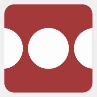 Círculos blancos en rojo calcomanía cuadradase
