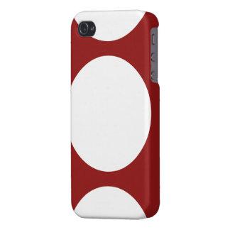 Círculos blancos en rojo iPhone 4 carcasa