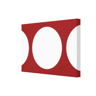 Círculos blancos en rojo lona envuelta para galerias