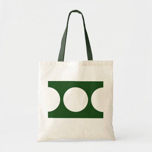 Círculos blancos en verde bolsa tela barata