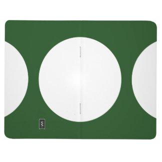 Círculos blancos en verde cuaderno