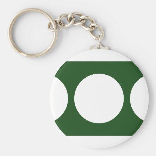 Círculos blancos en verde llaveros personalizados